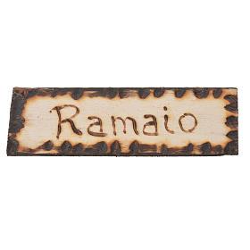Acessórios de Casa para Presépio: Placa Funileiro madeira 2,5x9 cm para presépio