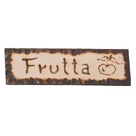 Fruit shop wooden sign, 2.5x9cm for nativities s1