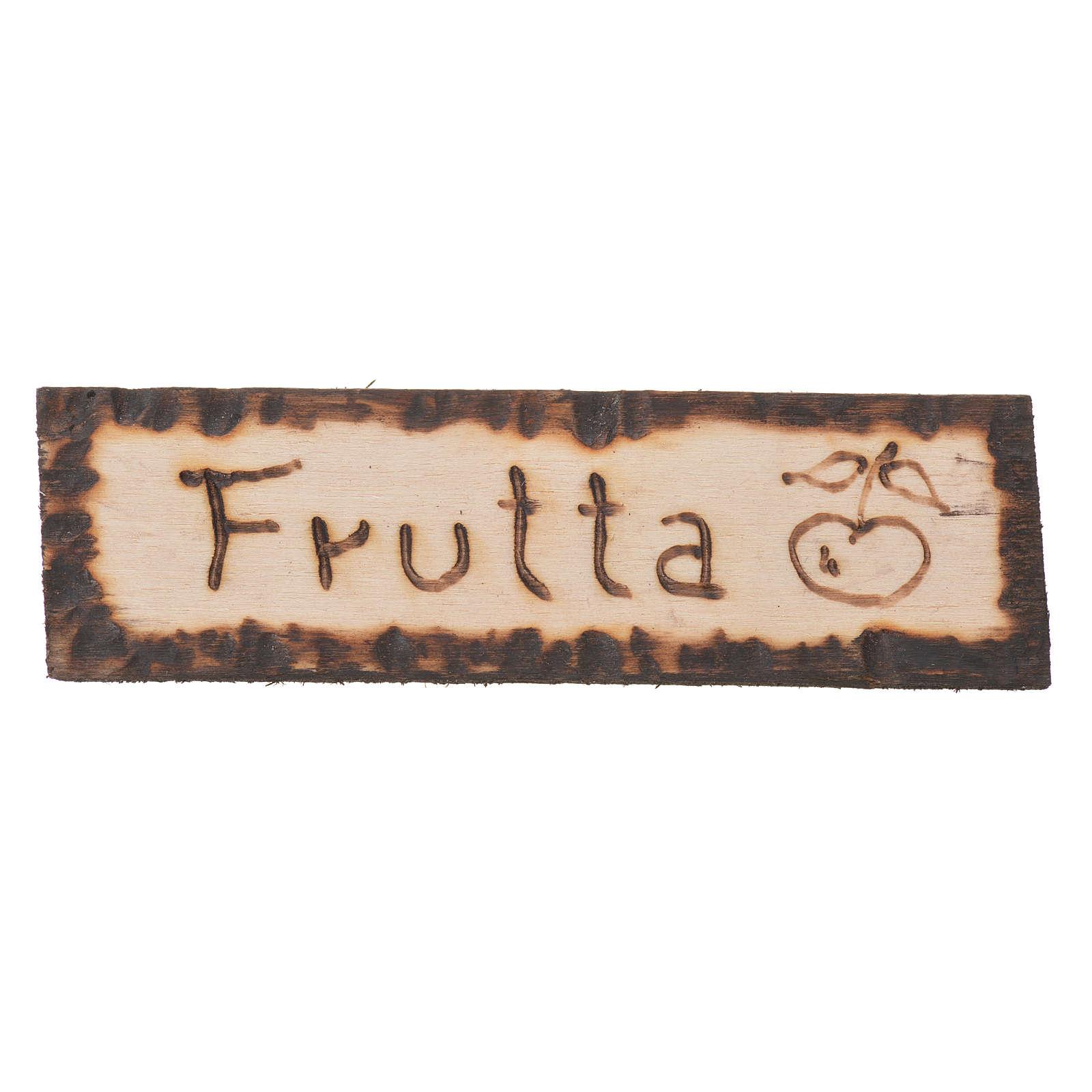 Insegna Frutta legno 2,5x9 cm per presepe 4