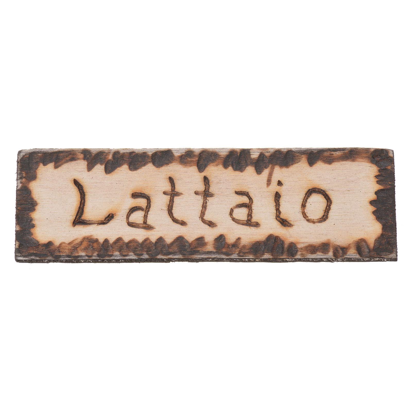Miniature enseigne magasin Laitier 2,5x9cm pour crèche 4