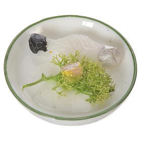 Piatto con pesce in cera per figure 20-24 cm s1