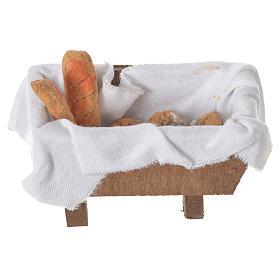 Acessórios de Casa para Presépio: Aparador com pão terracota 5x7,5x4 cm