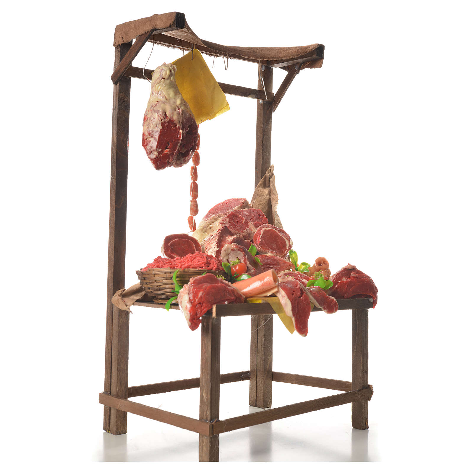 Nativity meat and cured meat stall, 41x28x15cm 4