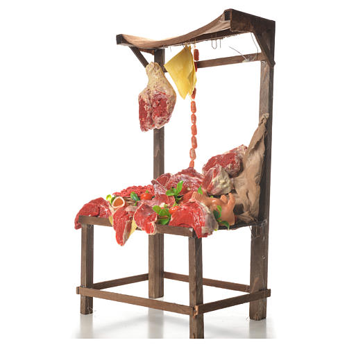 Nativity meat and cured meat stall, 41x28x15cm 2