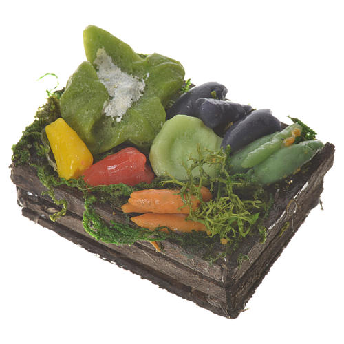 Accessory for nativities of 20-24cm, box with vegetables in wax 2