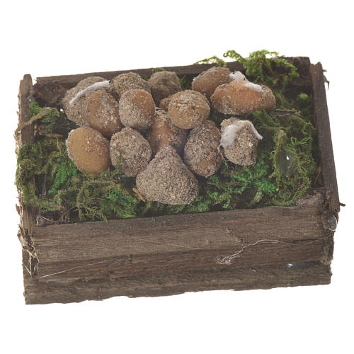 Accessory for nativities of 20-24cm, box with potatoes in wax 1