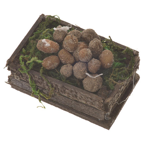 Accessory for nativities of 20-24cm, box with potatoes in wax 2