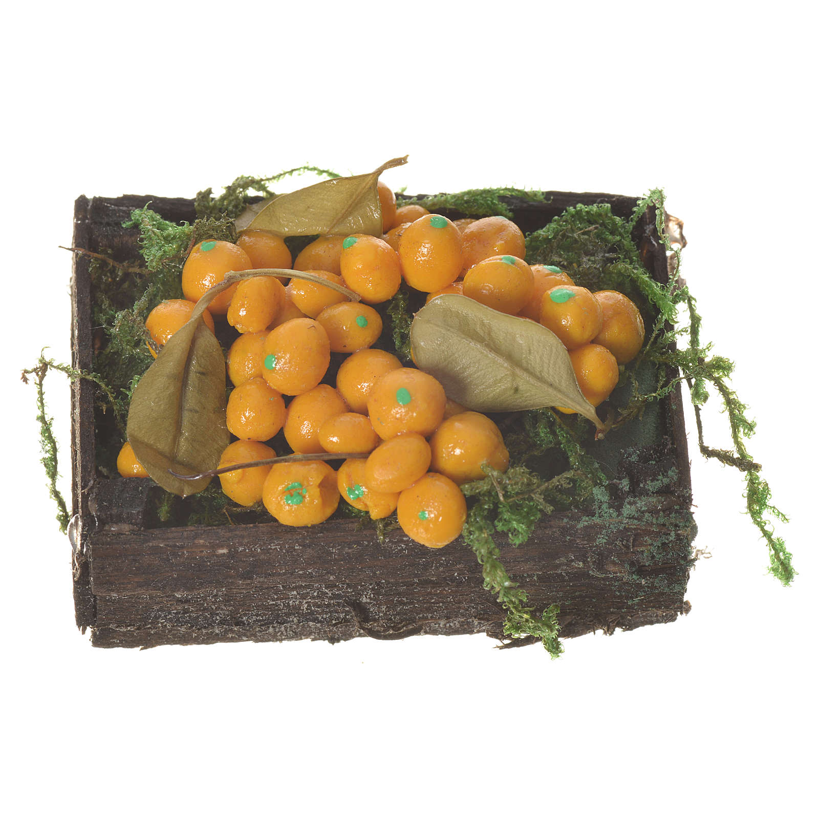 Cassetta frutta arancione cera figure presepe 20-24 cm 4