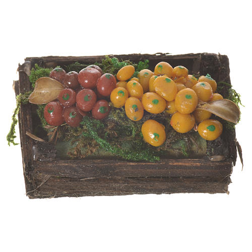 Accessory for nativities of 20-24cm, box with mixed fruit in wax 1