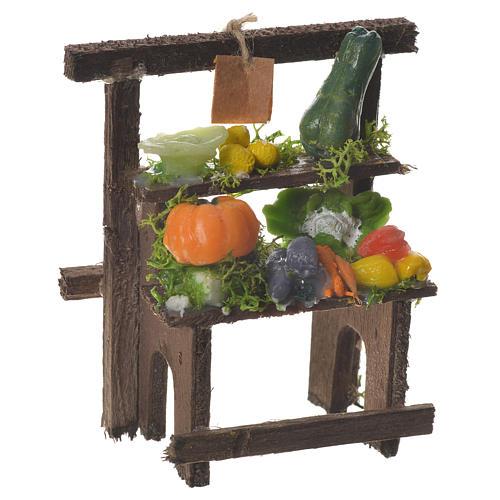 Banchetto fruttivendolo cera presepe 8,5x7x4 cm 1