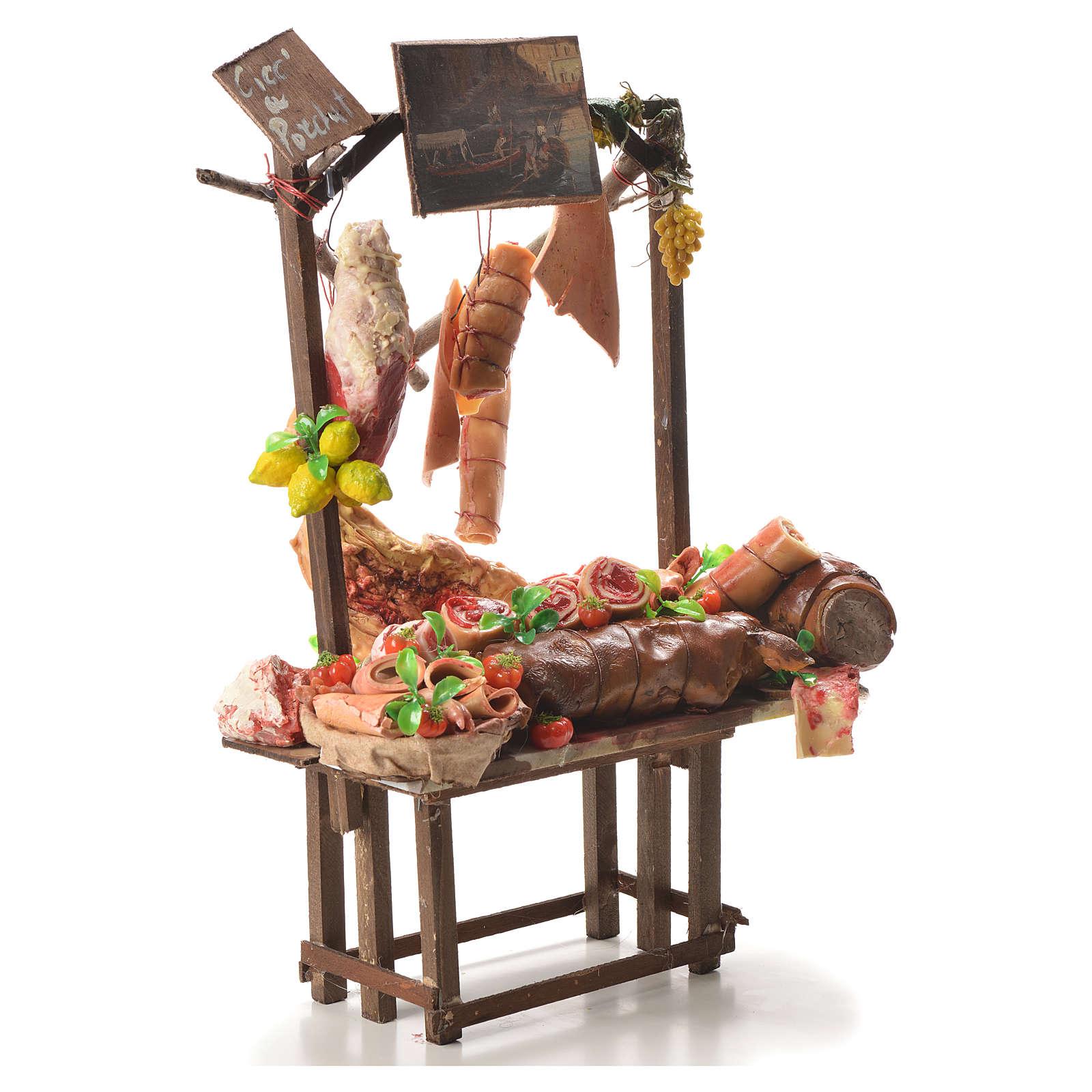 Stand Spanferkelhändler Wachs Krippe 52x38x20 cm 4