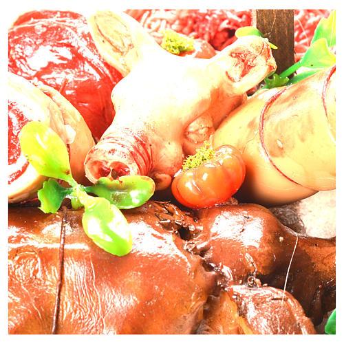 Banc marchand porchetta cire crèche 52x38x20 cm 6