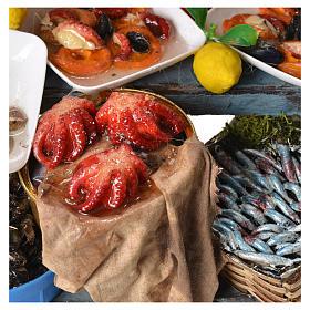 Stand Fischverkäufer Wachs Krippe 48x26x24 cm s5