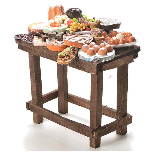 Nativity accessory, table with cakes in wax 20.5x20x13cm 2