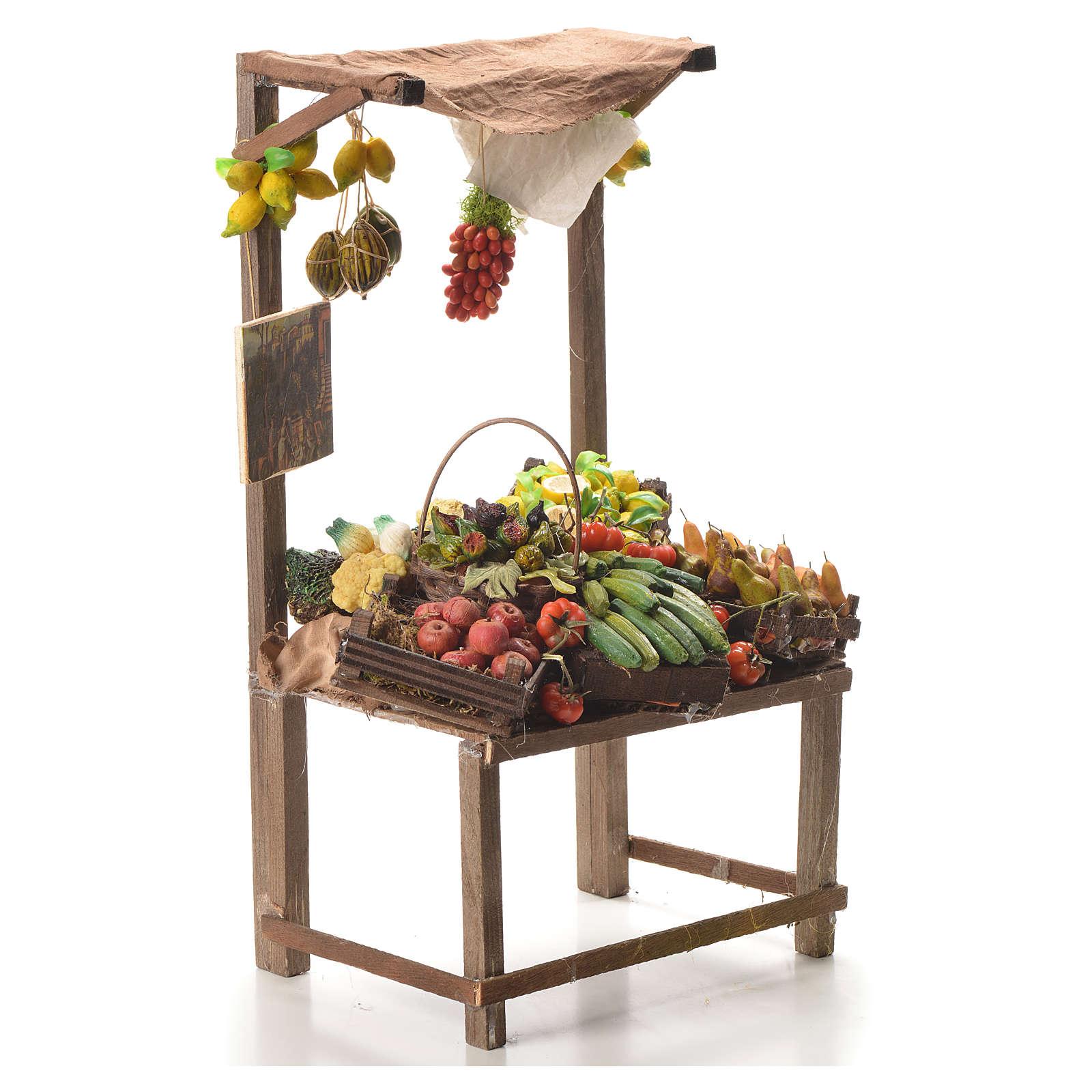 Banc marchand de fruit en cire pour crèche 41x22x15 cm 4