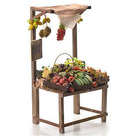 Banc marchand de fruit en cire pour crèche 41x22x15 cm s4