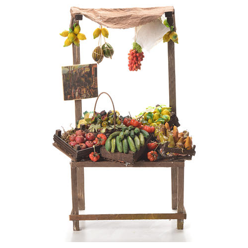 Banc marchand de fruit en cire pour crèche 41x22x15 cm 1