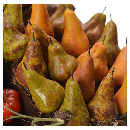 Banc marchand de fruit en cire pour crèche 41x22x15 cm 5