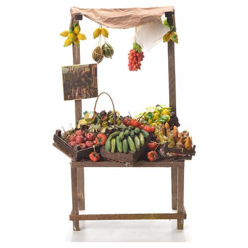 Banco del fruttivendolo in cera per presepe 41x22x15 cm 1