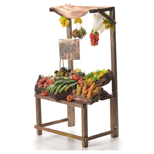 Banco del fruttivendolo in cera per presepe 41x22x15 cm 2