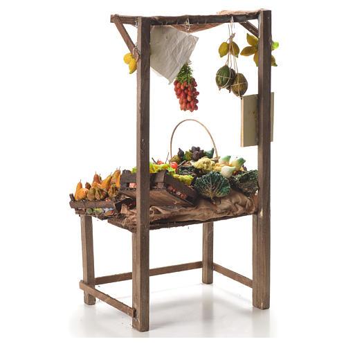 Banco del fruttivendolo in cera per presepe 41x22x15 cm 3