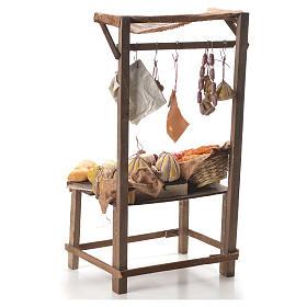 Stand mit Brot, Käse und Wurstwaren Wachs Krippe 40x21x15 cm s3