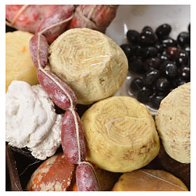 Stand mit Brot, Käse und Wurstwaren Wachs Krippe 40x21x15 cm s6