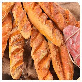 Stand mit Brot, Käse und Wurstwaren Wachs Krippe 40x21x15 cm s8