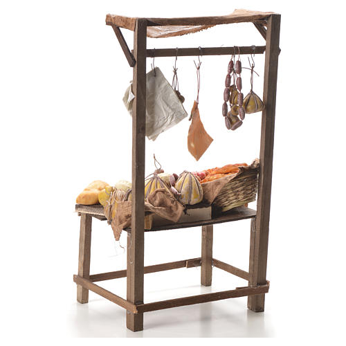 Nativity stall with bread, cheese, meat in wax 40x21x15cm 3