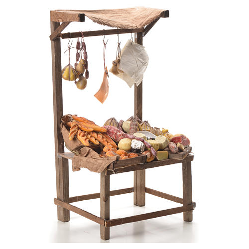 Nativity stall with bread, cheese, meat in wax 40x21x15cm 4