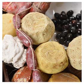 Banco pane formaggi salumi cera presepe 40x21x15 cm s6
