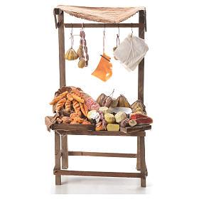 Comida em Miniatura para Presépio: Banca pão queijo charcutaria cera presépio 40x21x15 cm