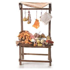 Nativity stall with bread, cheese, meat in wax 40x21x15cm s1