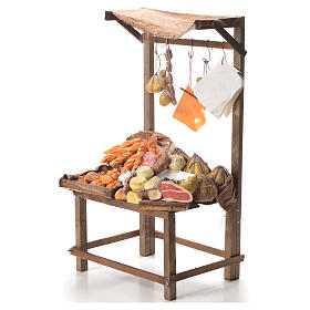 Nativity stall with bread, cheese, meat in wax 40x21x15cm s2