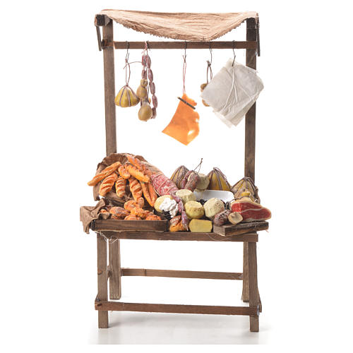 Nativity stall with bread, cheese, meat in wax 40x21x15cm 1