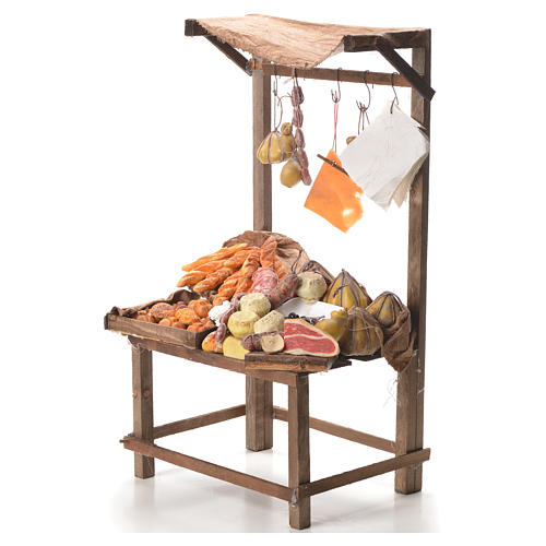 Nativity stall with bread, cheese, meat in wax 40x21x15cm 2