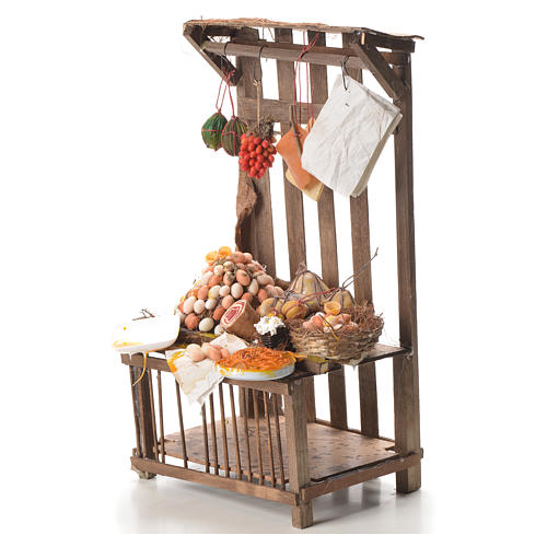 Nativity stall with cured meat in wax 41x25x16cm 2