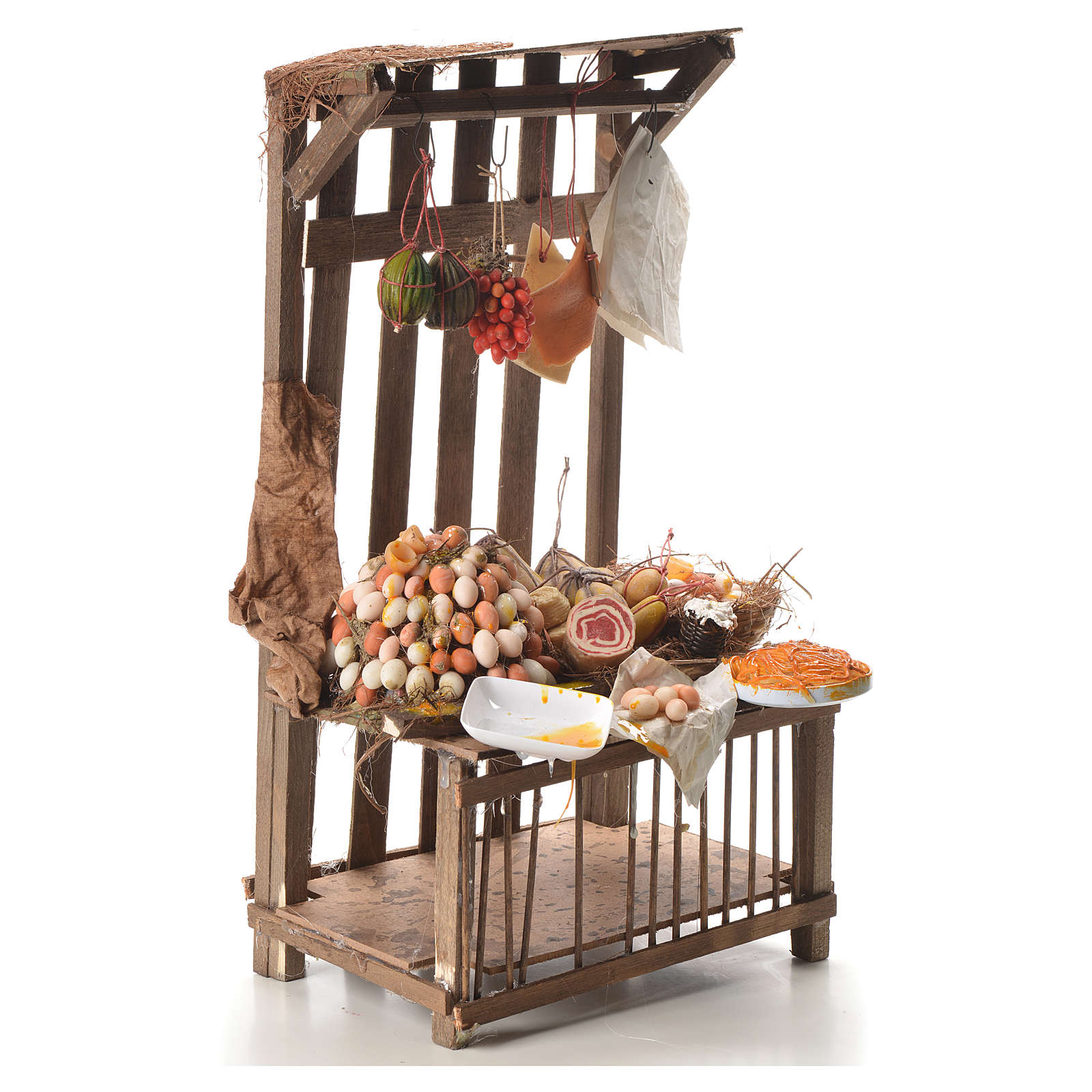 Nativity stall with cured meat in wax 41x25x16cm 4