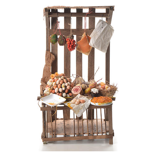 Nativity stall with cured meat in wax 41x25x16cm 1