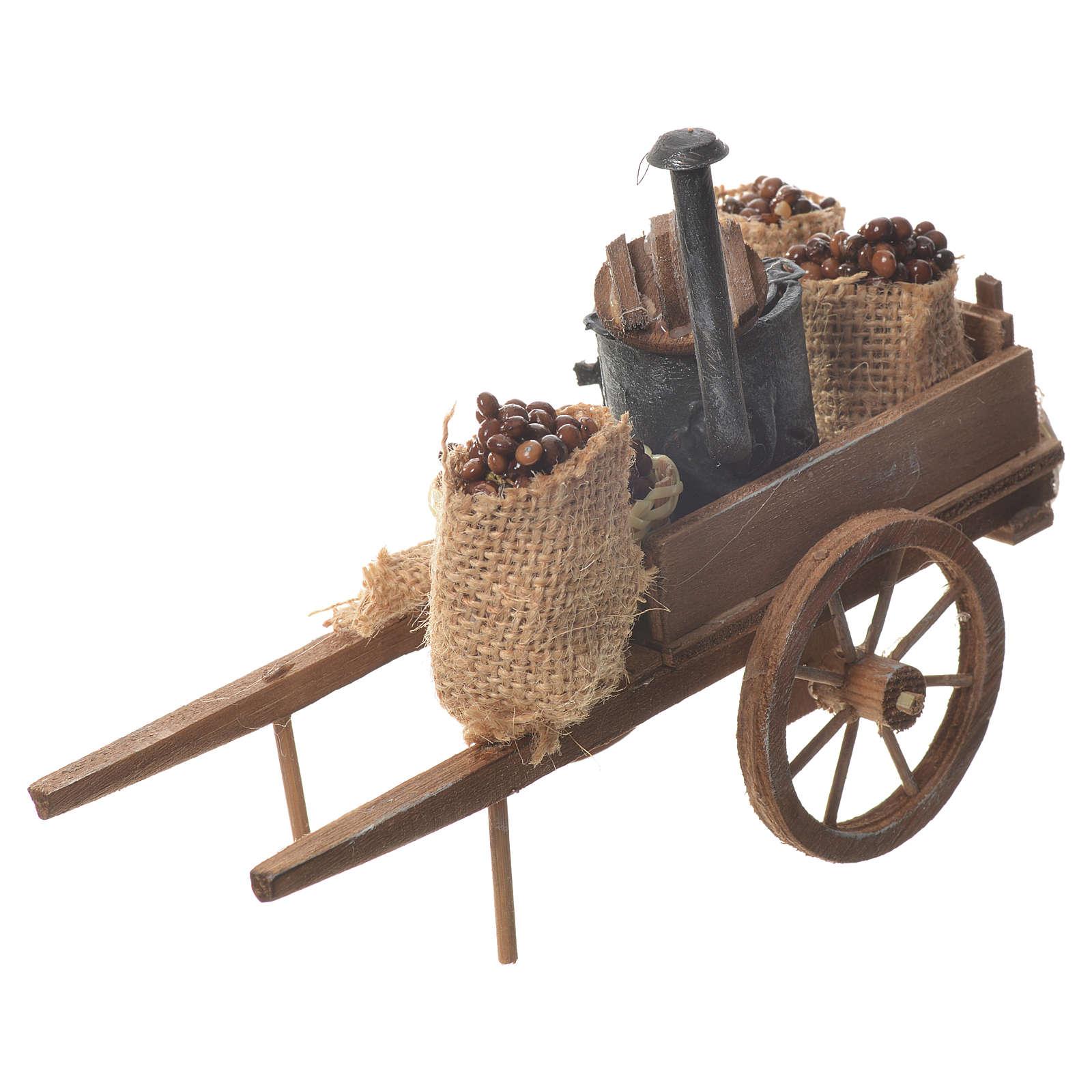 Neapolitan nativity accessory, roasted chestnuts cart 4