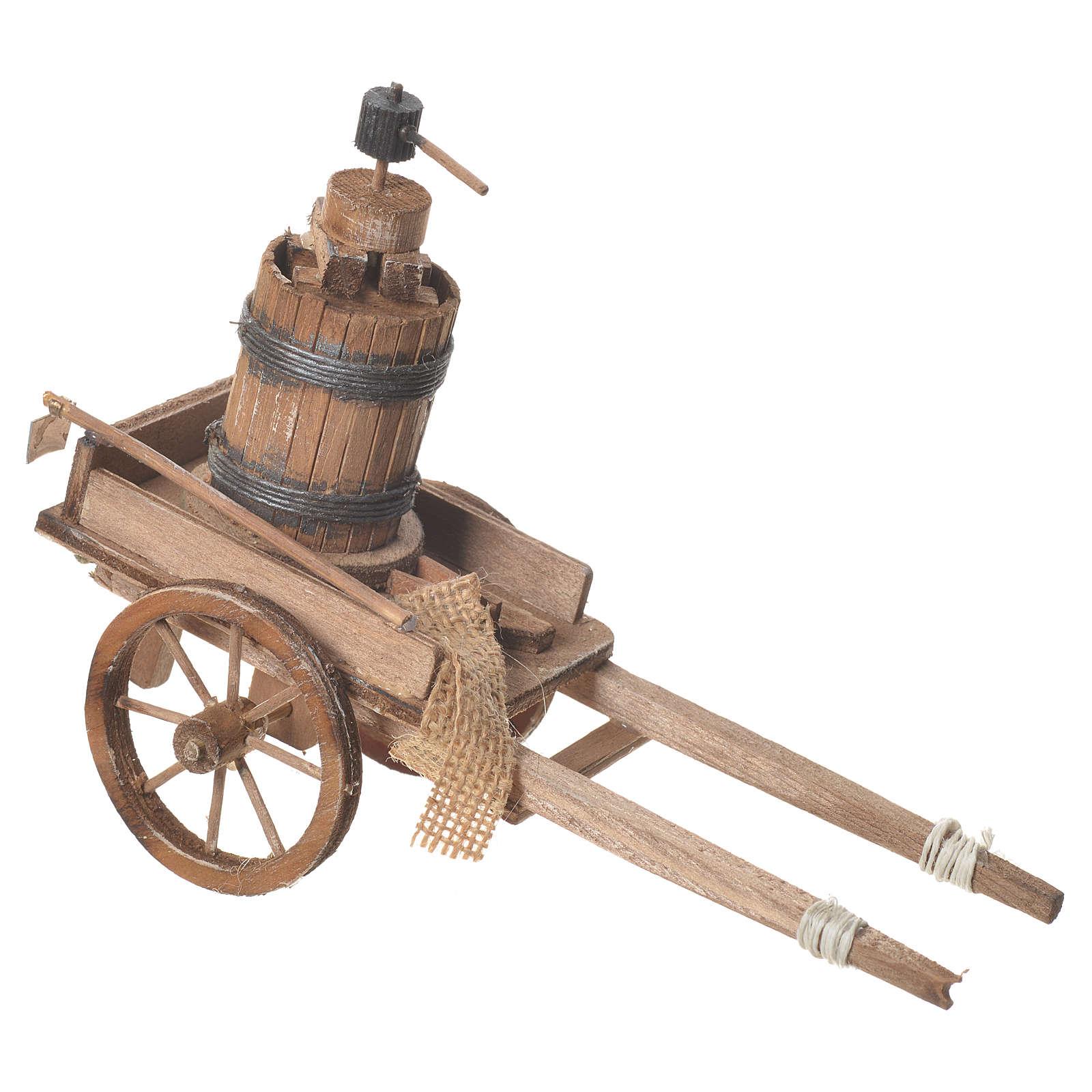 Carro con prensa belén Napolitano 18x6 cm 4