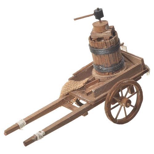Carro con prensa belén Napolitano 18x6 cm 1