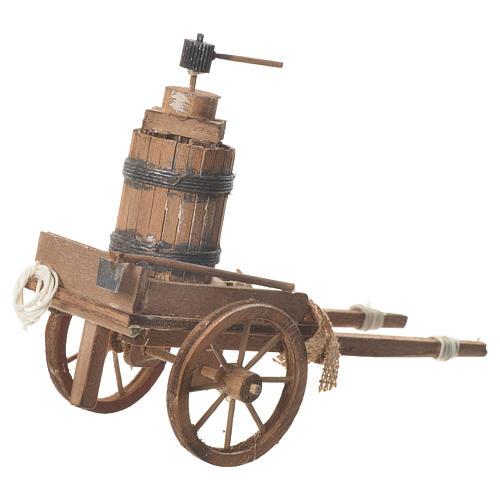 Carro con prensa belén Napolitano 18x6 cm 3