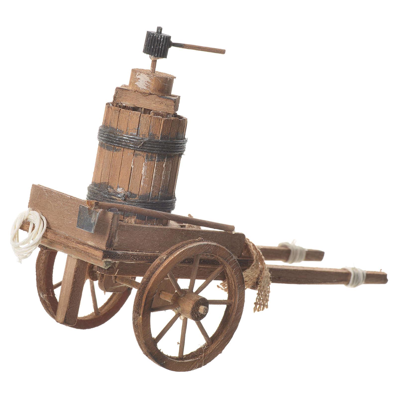 Charrette avec pressoir crèche napolitaine 18x6 cm 4