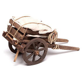 Cart with sacks, Neapolitan nativity 18x6cm s3