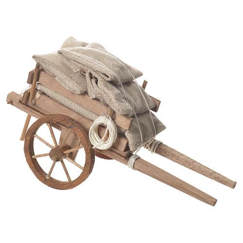 Cart with sacks, Neapolitan nativity 18x6cm 2