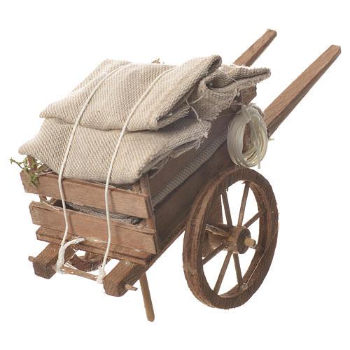 Cart with sacks, Neapolitan nativity 18x6cm 3