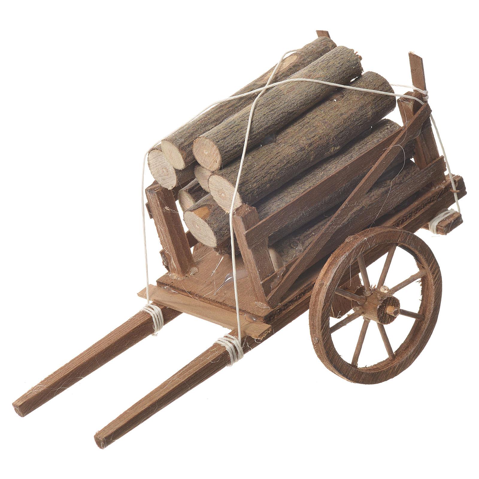 Carro legna presepe Napoletano 18x6cm 4