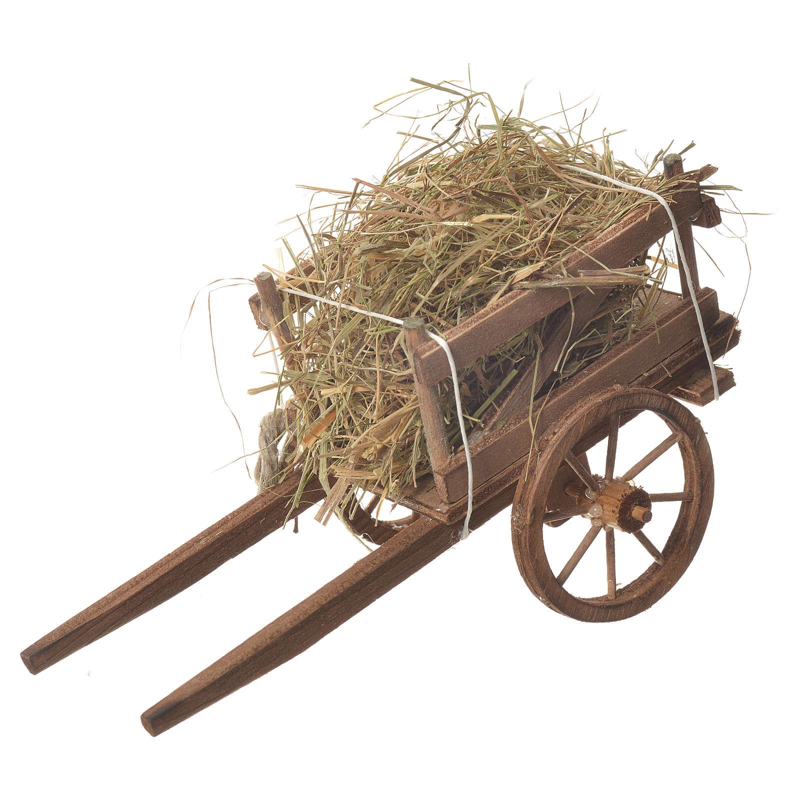 Cart with hay, Neapolitan nativity 18x6cm 4