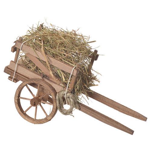 Cart with hay, Neapolitan nativity 18x6cm 2